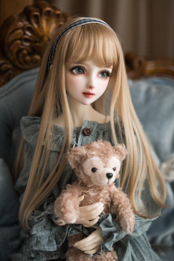 BJD poupée perruques de cheveux pour 1/3 1/4 1/6 BJD DD SD MSD YOSD doll Haute température fil longue champagne lait d'or cheveux perruques