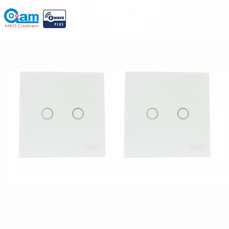 COOLCAM 2pcs/lot Z-wave Plus Wall Light Switch 2CH Gang Home Automation Z Wave Wireless Smart Remote Control Light Switch