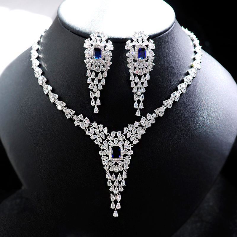 Women Exaggerated style Pointed shape Crystal Bridal Jewelry Sets Stud Earrings Necklace Jewelry Wedding Evening Party