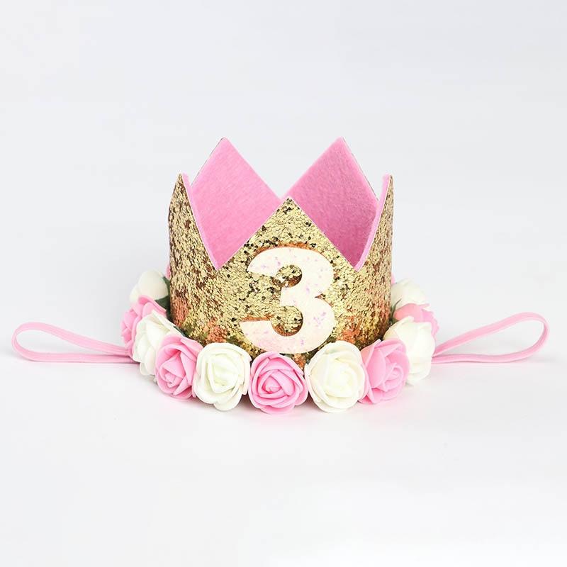 1 шт счастливые шляпы для вечеринки по случаю Дня рождения декоративная крышка один день рождения шляпа Принцесса Корона 1-й 2-й 3-й год номер детские аксессуары для волос - Цвет: D