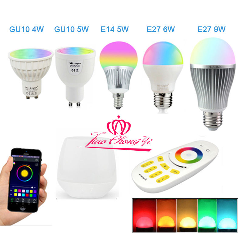 RGBW W/WW E27 GU10 MR16 LED Light Dimmable RGB Bulb Lamp 2.4G Wireless Milight milight 2 4g wireless e27 6w rgbw led spotlight dimmable bulb lamp 86 265v