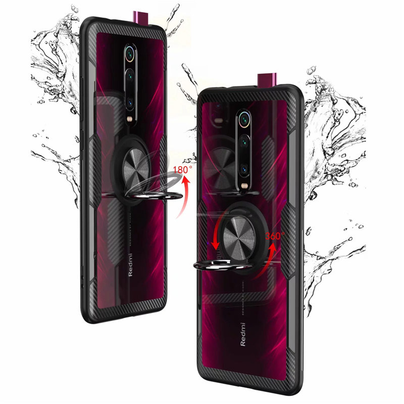 Tempered Glass Case For Redmi K20 Note 7 8 Clear Armor Cover For Mi Note 10 Tempered Glass Case For Redmi K20 Note 7 8 Clear Armor Cover For Mi Note 10 CC9 PRo A3 Lite 9T Mi9T 9 SE Metal Ring Holder Coque