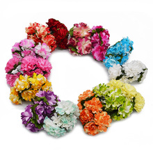 72/144pcs/lot 3CM Artificial Paper Chrysanthemum Flowers Bouquet for Wedding Party Home Table Decoration DIY Scrapbooking Wreath