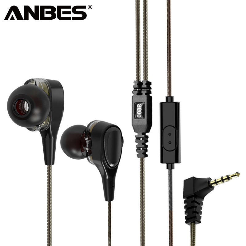 ANBES Wired Earphone Super Bass Dual Drive Stereo Headphones Sport Music Headset Earbuds For Mobile Phone fone de ouvido