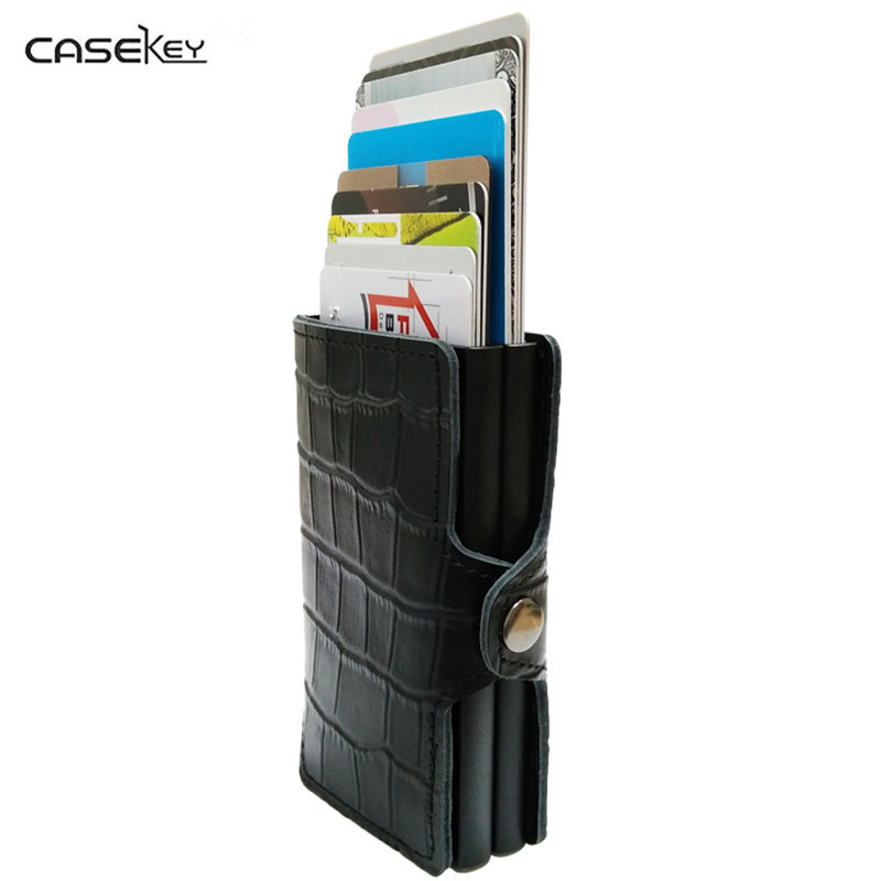 CaseKey Crocodile Leather Automatic Credit Card Holder Men Best Aluminum Alloy Business ID Card Holder Multifunction Card Holder nahoo lanyard id badge clip name label plastic badge leather card holder vertical credit card bus card holder office supplies