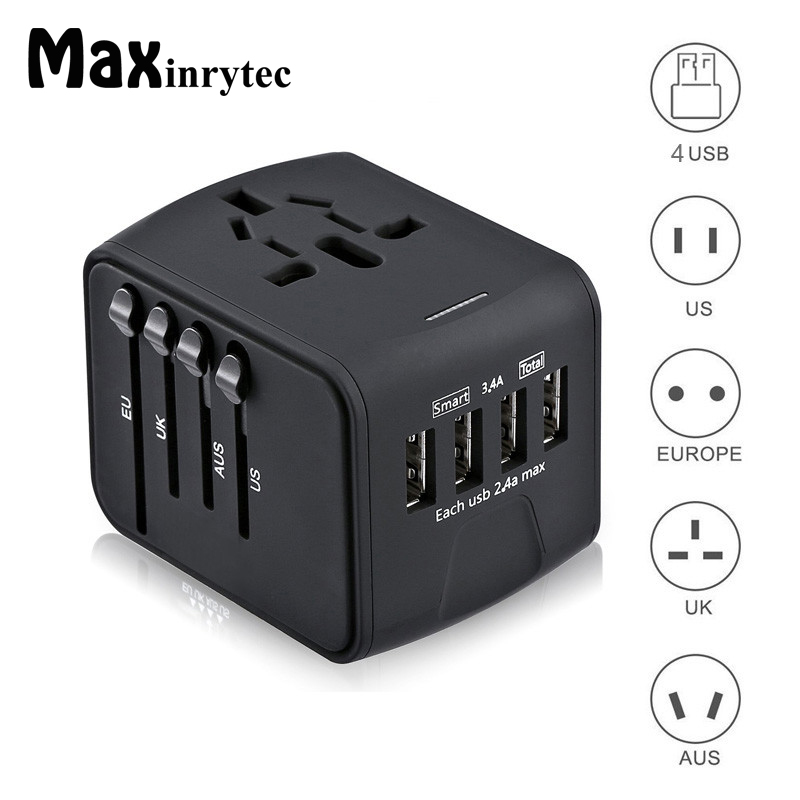 Maxinrytec 4 USB Ports 3.4A Travel Charger Universal AC Wall Outlet Plugs Power Worldwide Adapter Charger for US / EU / UK / AU