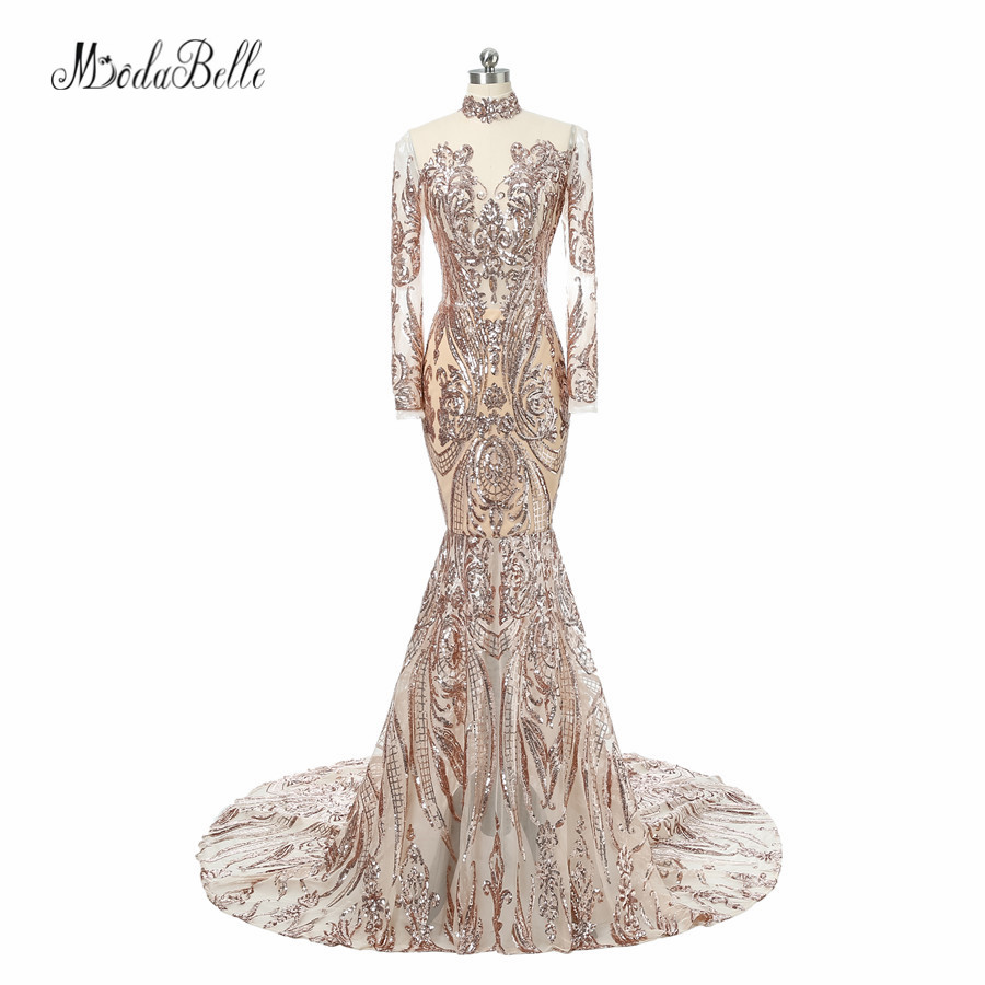 Modabelle Fashion Bling Gold Sequins Long Sleeve Evening Dresses Mermaid High Neck Luxury Arabic Gowns Formal