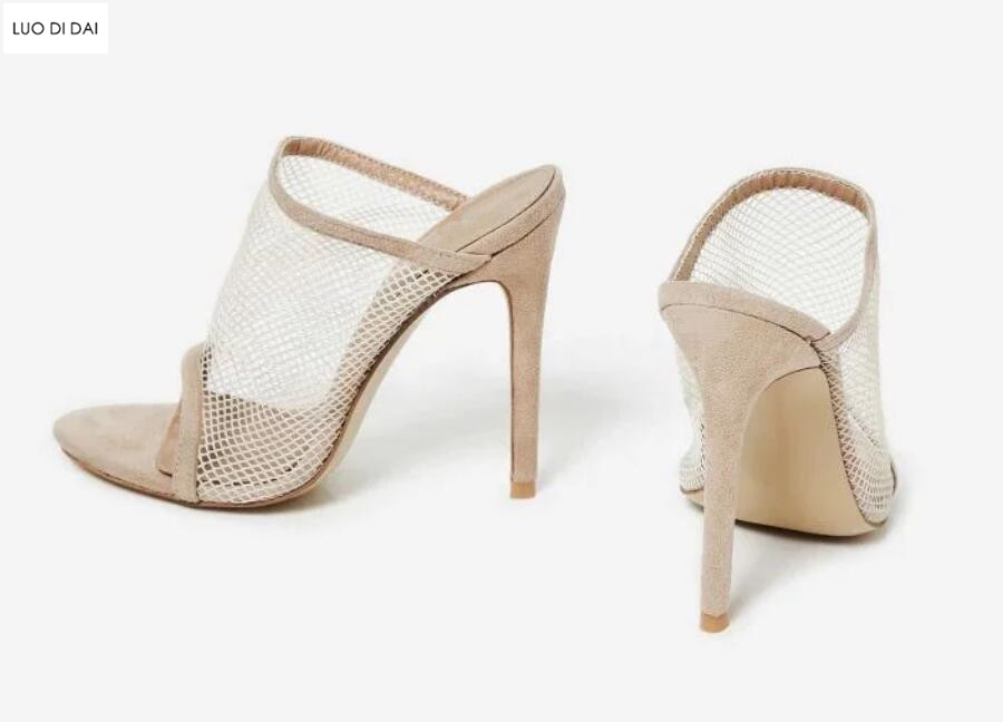 2018 new women air mesh high heels party shoes summer Peep Toe slide sandals Fishnet high heels Nude Faux Suede sandals high rise fishnet panel bikini