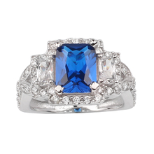 Women's Luxury Genuine 925 Sterling Silver Ring Crystal Surrounded Jewelry 7x9mm Rectangular Stone R057