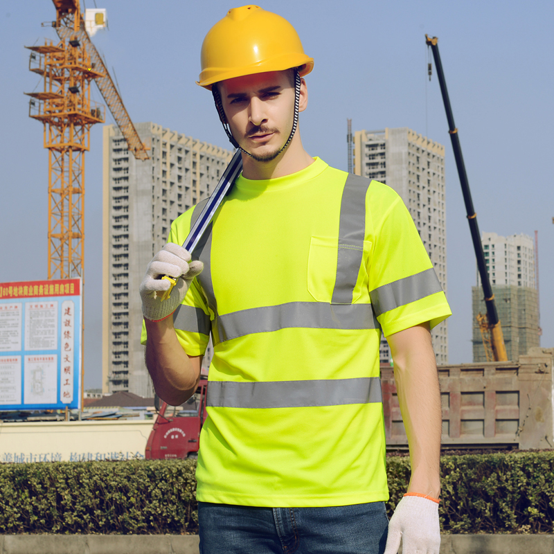Safety reflective T-shirt High visibility breathable hygroscopic and sweat releasing for construction mining safety shirt quick dry breathable high visibility yellow polo shirt t shirt