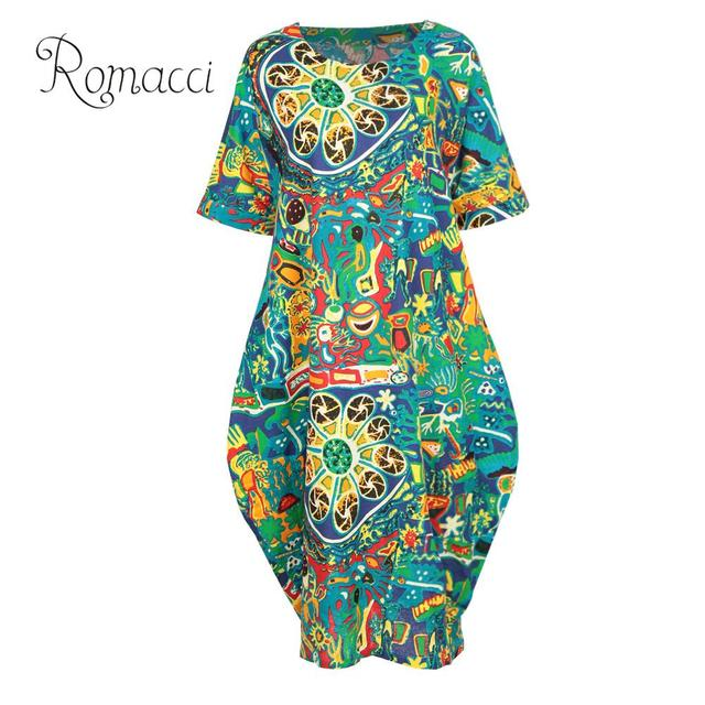 US $10.25 44% OFF|Romacci Loose Cotton Linen Dress Female Fashion Women  Casual Plus Size Dress Graffiti Printing Short Sleeve Pockets Boho Dress-in  ...