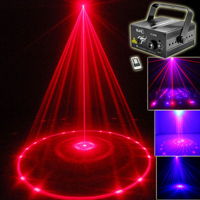 2017 New 12 Patterns LED Laser Projector Show Lights Red Blue Sound Activated Remote Control Dj Disco Party Bars Pubs Lighting