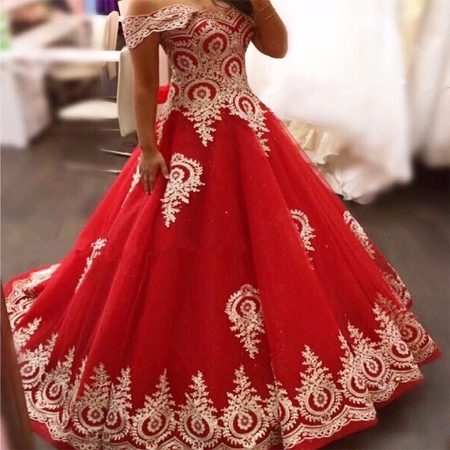 2017 Red Gold Long Muslim Wedding Dresses Off the Shoulder Gold Lace ...