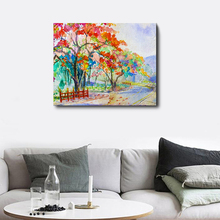 Laeacco Watercolor Trees Painting on Canvas Wall Artwork Posters and Prints Nordic Living Room Bedroom Home Decoration