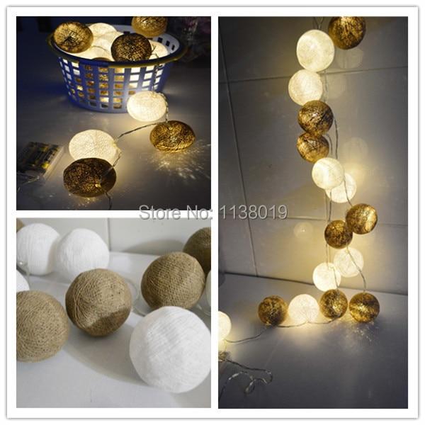 buy brown white cotton ball led string