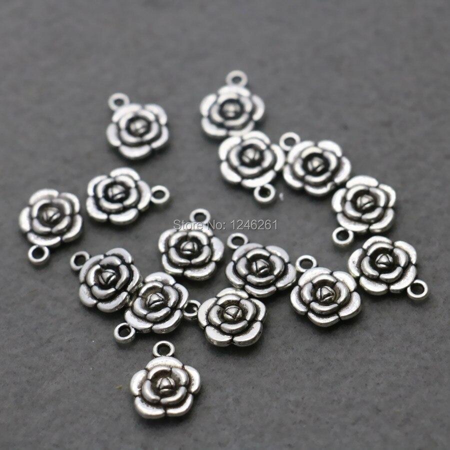 10 Stücke Großhandel Rose Anhänger Metall Diy Fittings Zubehör Für Halskette Armband Bearbeitung 12mm Teile Silber-platte Schmuck, Der
