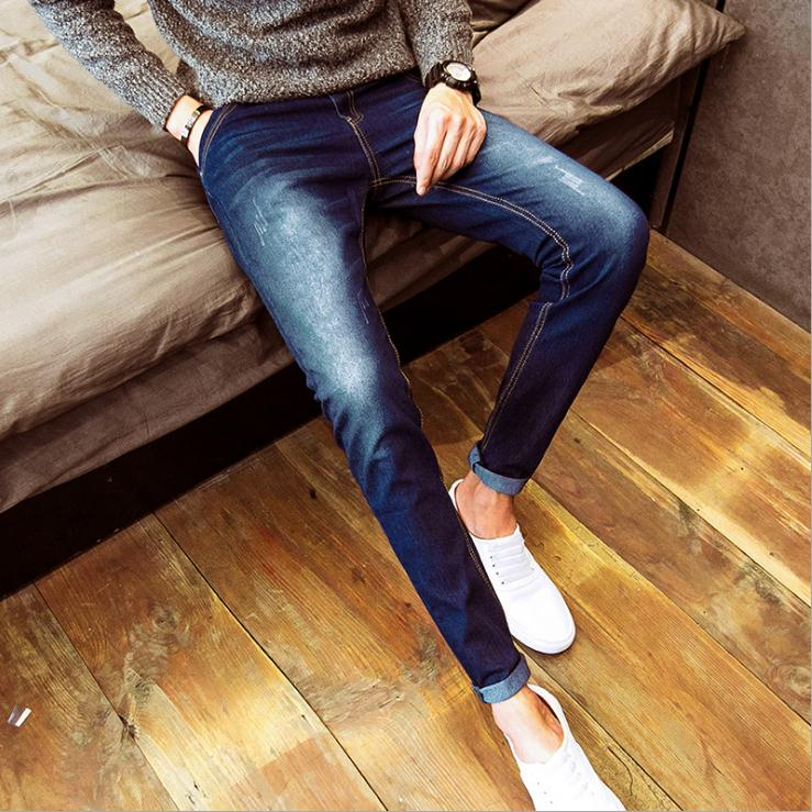Top Quality 2019 Spring Autumn Stretch Solid Casual Slim Fit Teenagers Student Men Jeans Cowboy Leisure Male Youth Trousers