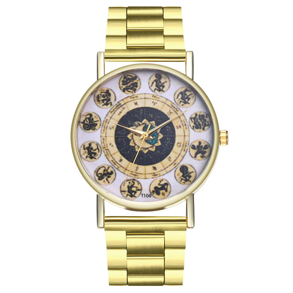 Clock Watch Band Quartz Stainless-Steel Gold Elegant Women Lady Luxury Dial Orologio
