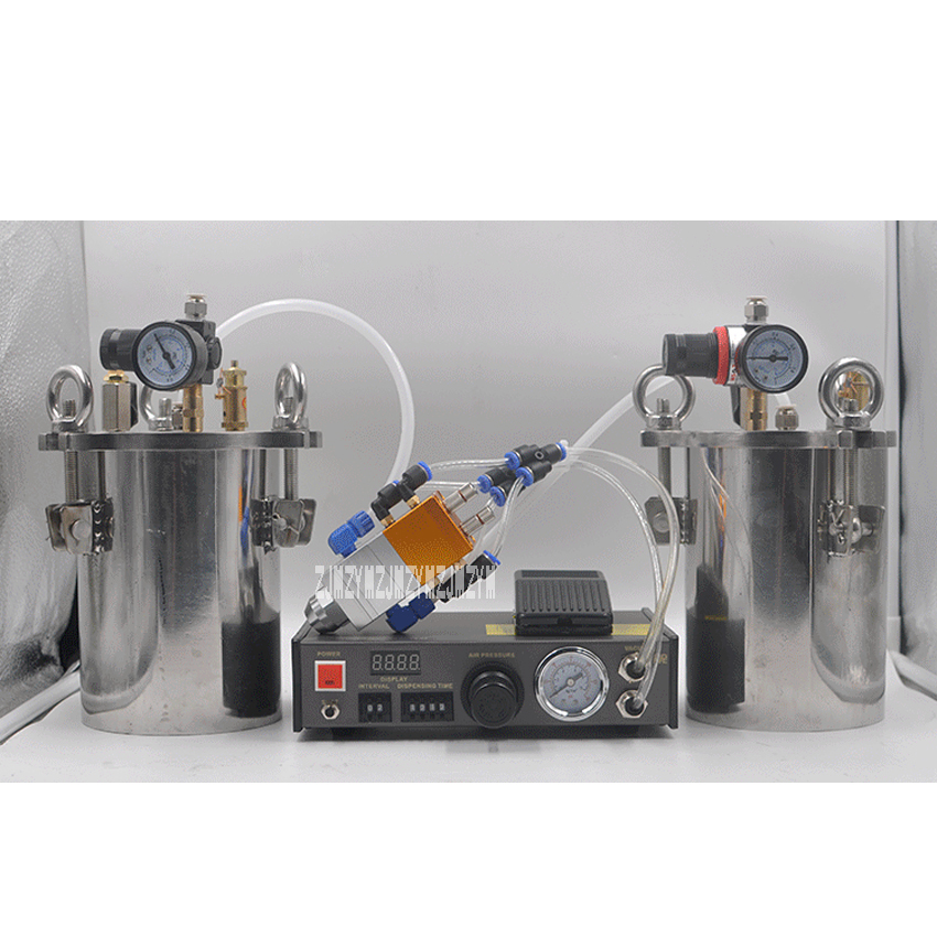 New MY-2000 Double Liquid Glue Dispenser Equipment Accurate Automatic AB Glue Dispensing Machine With 2pcs 10L Pressure Tanks 6 x stainless steel 2 05mm od 12ga glue liquid dispenser needles tips
