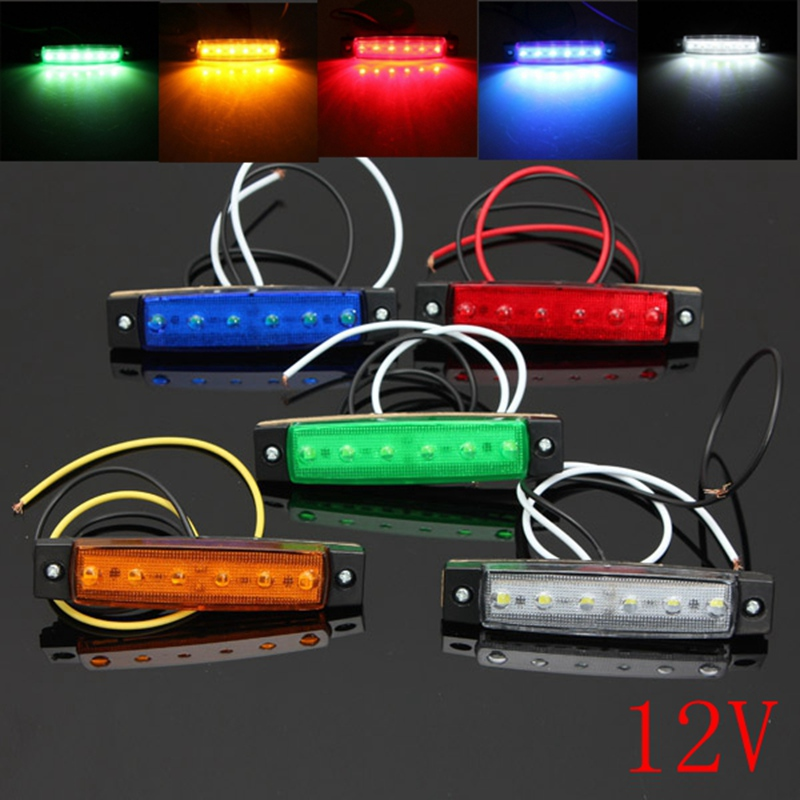 12V 6 LED Car Bus Truck Trailer Lorry Side Marker Indicator Light Brake Signal  Lamp 5 Color Blinker Light 2x 12 24v led side outline stalk marker light lamp e8 e mark trailer truck lorry