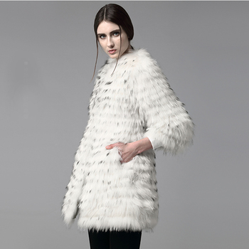 Free Shipping *100% Natural White Raccoon Fur Coat Stripes/ Real Raccoon Fur Jacket SU-16037 1