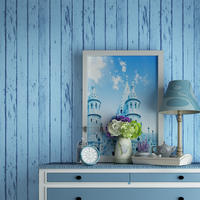 Blue Mediterranean Wooden Wallpapers Nonwovens Nostalgic Bedroom Living Room TV Background Striped Wallpaper