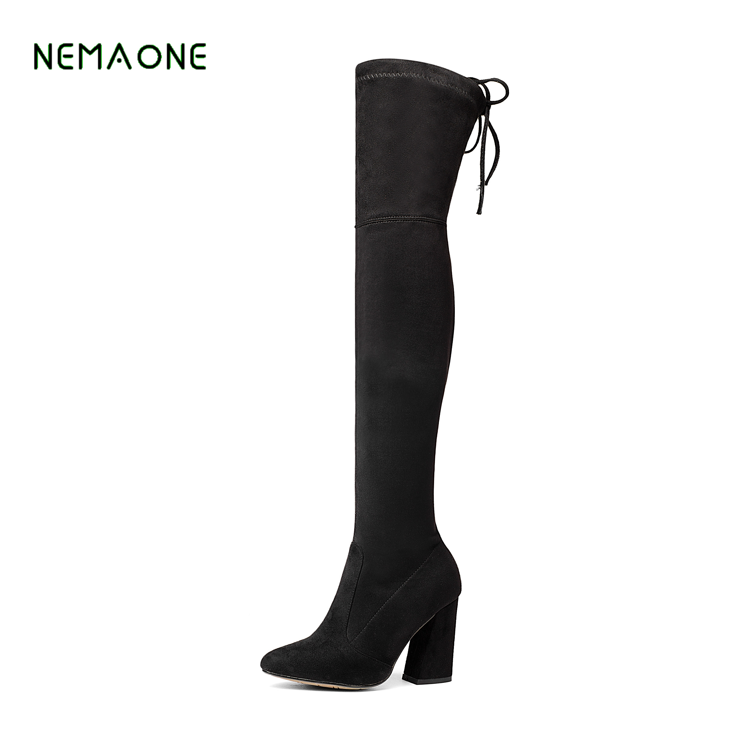NEMAONE Women Stretch Suede Over the Knee Boots Thigh High Boots Sexy Fashion Plus Size High Heels Shoes Woman 2017 Black Brown стоимость