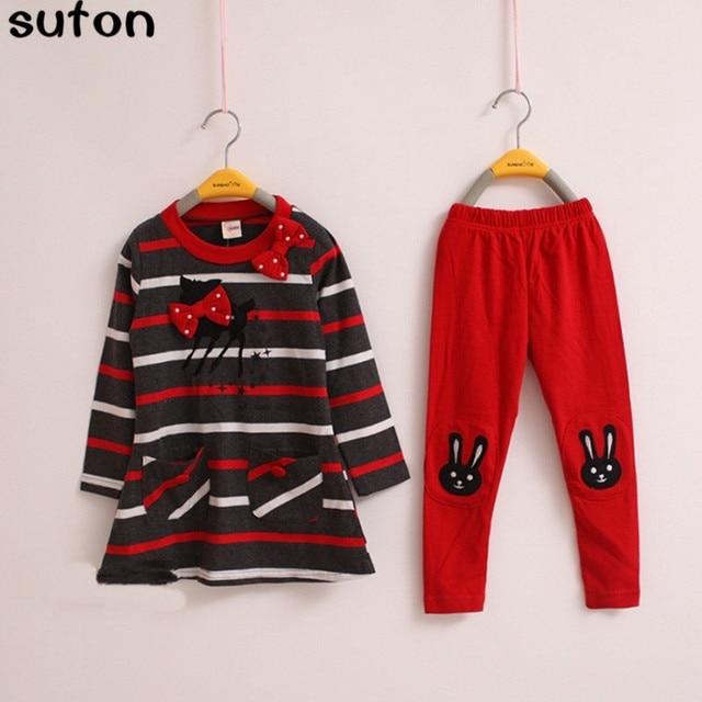 2017 Autumn Winter Baby Girl Clothes Suit Stripe Cartoon Deer Bow Cotton Long-sleeved T-shirt+Leggings 2pcs Lovely Warm Kid Suit