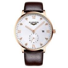 GUANQIN GQ13001 Bauhaus минимализм кварцевые мужские часы подсветкой  календарь водонепроницаемый цвета розового золота кожаный ремешок( 9cd961d881f78