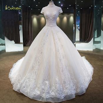 e5002cf14 Loverxu Vestido De novia De cuello alto De una línea De vestidos De novia 2019  De lujo manga corta apliques con cuentas De cristal