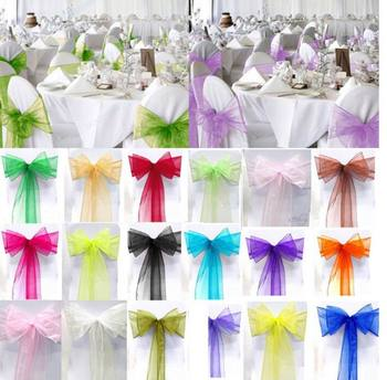 Wedding Decoration 100PCS New Organza Chair Sashes Bow Cover Banquet,wedding party chair decoration