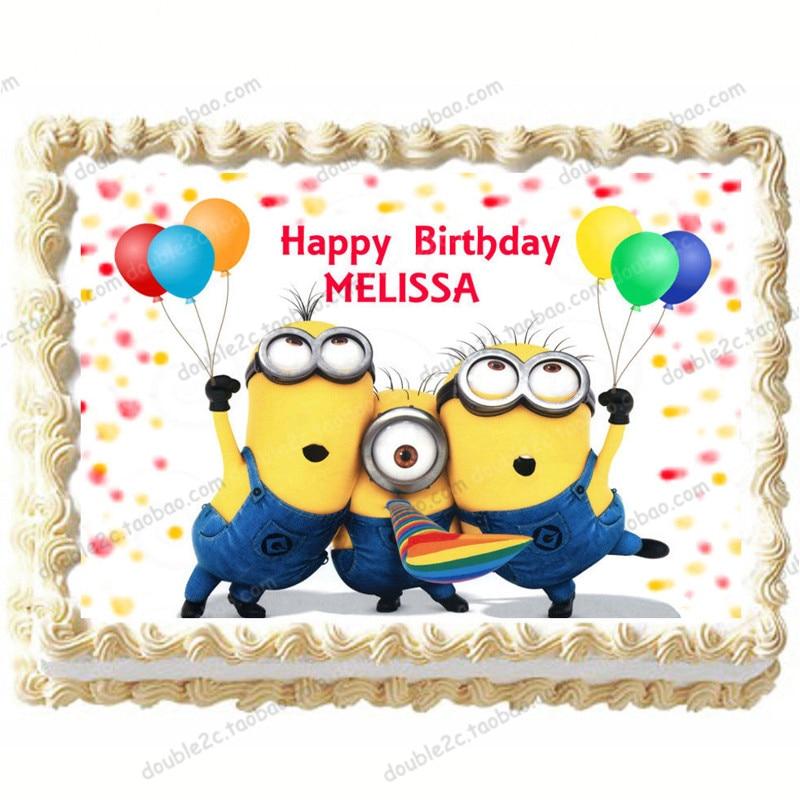 Stupendous Minion Rectangle Wafer Paper For Cake Decorations 1Pcs Kids Funny Birthday Cards Online Unhofree Goldxyz