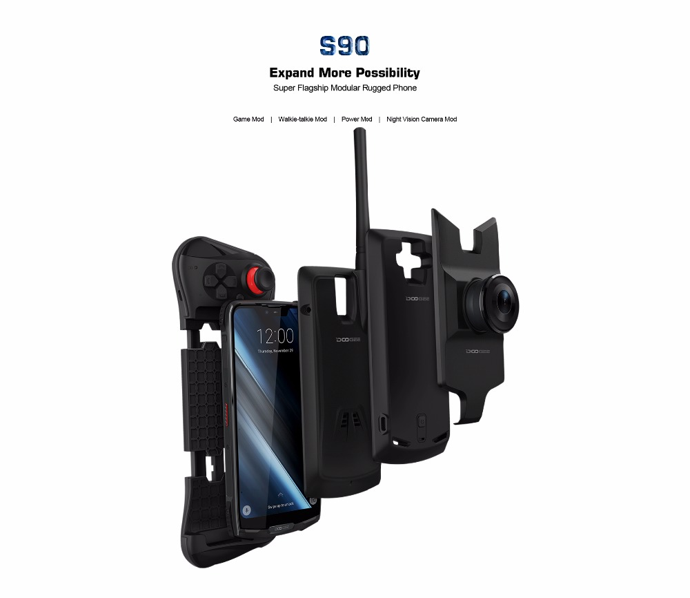 IP68 IP69K DOOGEE S90 Modular Rugged Mobile Phone 6 18 FHD In Cell Display Helio P60