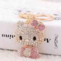 New Arrival Hello Kitty Pendant Creative Rhinestone Keyrings Gold Plated Keychains Women Purse Bag Charm Jewelry