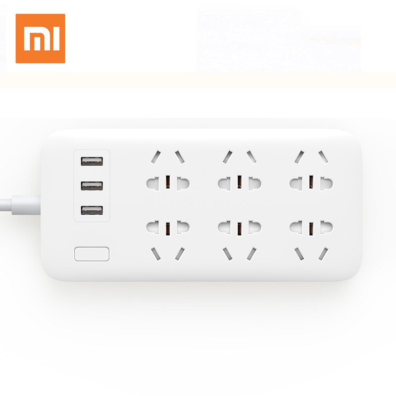 XIAOMI MIJIA Smart Power Strip 2A Fast Charging 3 USB Extension Socket Plug 6 Standard Socket