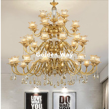 Free Shipping D120cm Brass Chandelier 24L Brozne LED Lustres Home Chandelier Brass K9 Crystal AC Luxury Vintage Hotel Chandelier newly free shipping 100 240v romantic brass chandelier copper chandelier pendant k9 golden crystal penadnt lamp 100