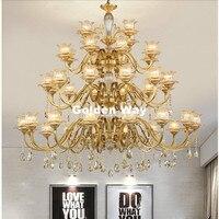 Free Shipping D120cm Brass Chandelier 24L Brozne LED Lustres Home Chandelier Brass K9 Crystal AC Luxury Vintage Hotel Chandelier