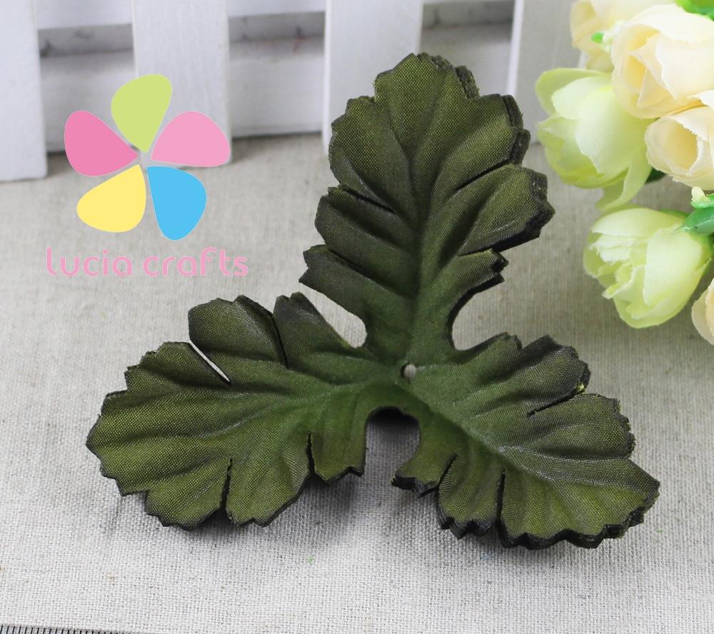 48pcs/lot 10cm Green Artificial Silk Florist Crafts Stocking Flowers Leaves DIY Leaf Material 086020062