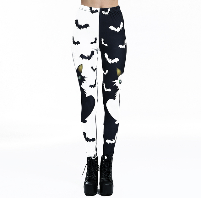 Cats and Bats, Black and White Leggings