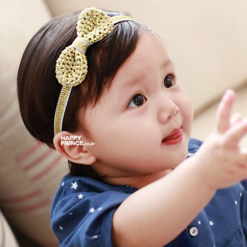 d425e27ff0d Naturealwell Princess Bowknot Headband Child Girls Pure Gold Silver Color  Headwear Elastic Girls Bows Hairband Accessories HB002