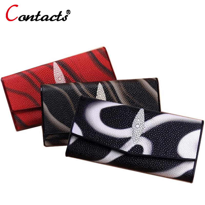 CONTACT'S Women wallet genuine leather wallet female coin purse card holder womens wallets and purses Lady Clutch long money bag wallet women small cow leather mini short wallets id card holder wallet coin purses real leather wallets for lady clutch female