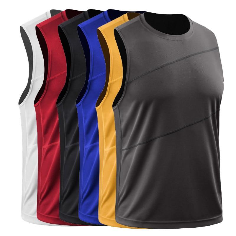 Mens Running Vest Gym Sleeveless Shirt Summer Slim Tank 2019 Men Sport Vest Top Basketball Workout Training Fitness Man Singlet