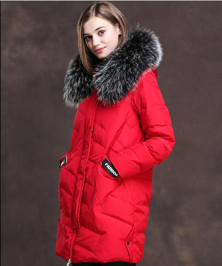 Bas Canard ivoire lavande Col Noir Vers Et Manteau rouge Veste Le Big Nouveau D'hiver Long Blanc Duvet De Moyen Femmes Fox gris Fourrure 7FCWqY