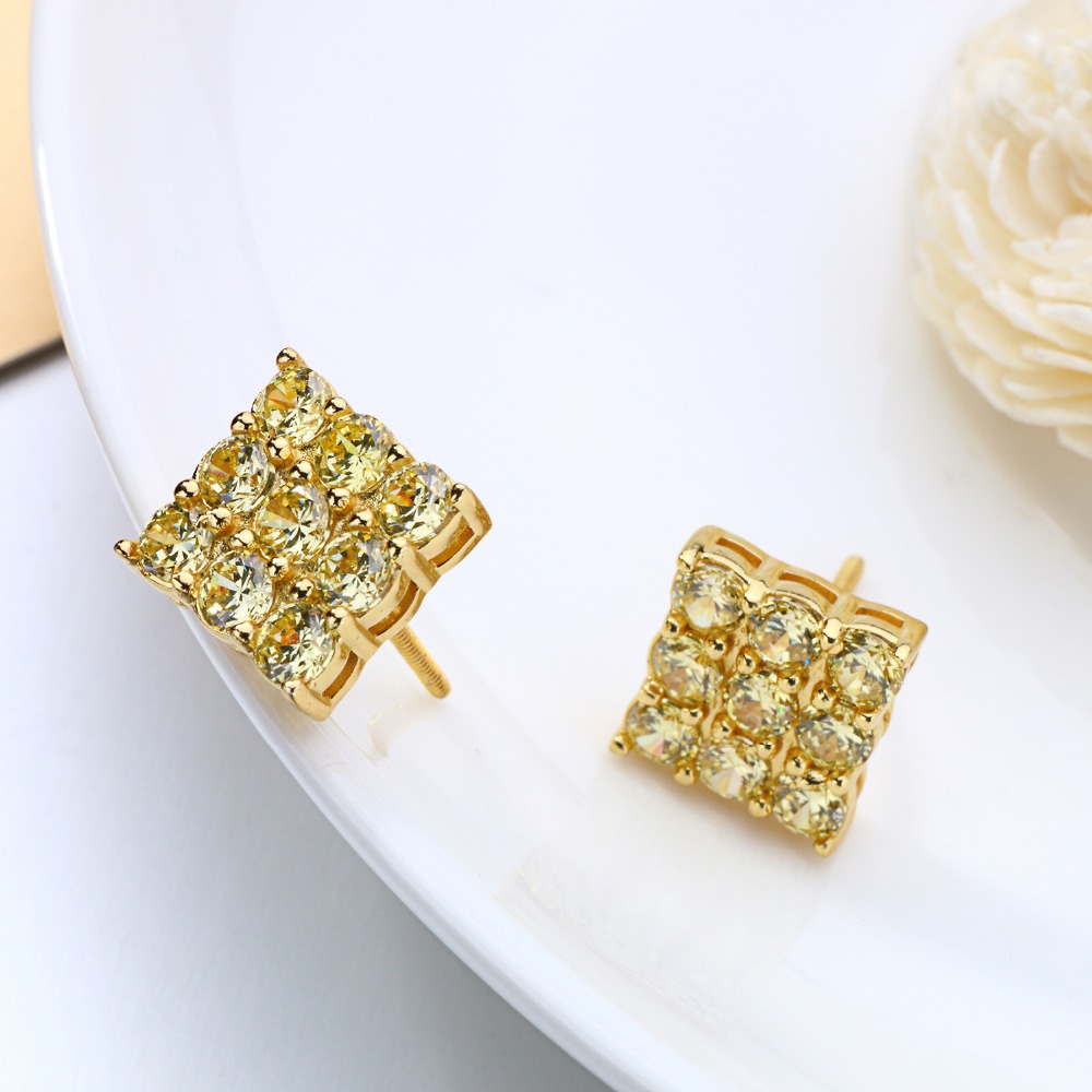 Earrings Yellow Gold Rhodium Plated Silver Aaa Nine Simulated Rhinestone  Cubic Zircon Hip Hop Piercing Stud