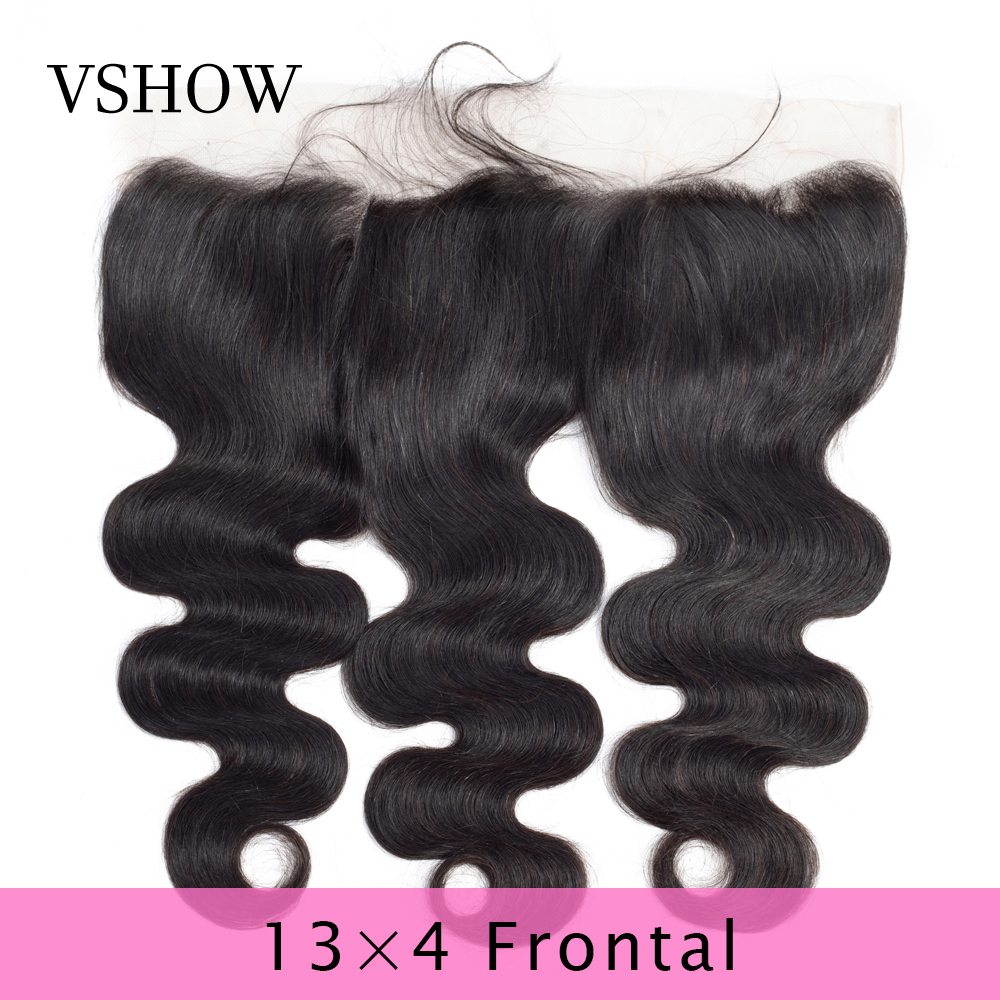 VSHOW 13X4 Lace Frontal Closure Pre Plucked Swiss Lace Frontal Remy Human Hair Brazilian Body Wave Frontal-in Closures from Hair Extensions & Wigs    1