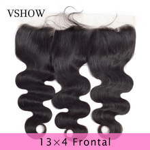VSHOW 13X4 Lace Frontal Closure Pre Plucked Swiss Remy Human Hair Brazilian Body Wave