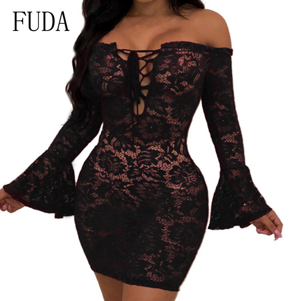 FUDA Autumn Vintage Black Lace Embroidery Women Dress Sexy Off Shoulder Long Sleeves Hollow Out Party Short Dresses