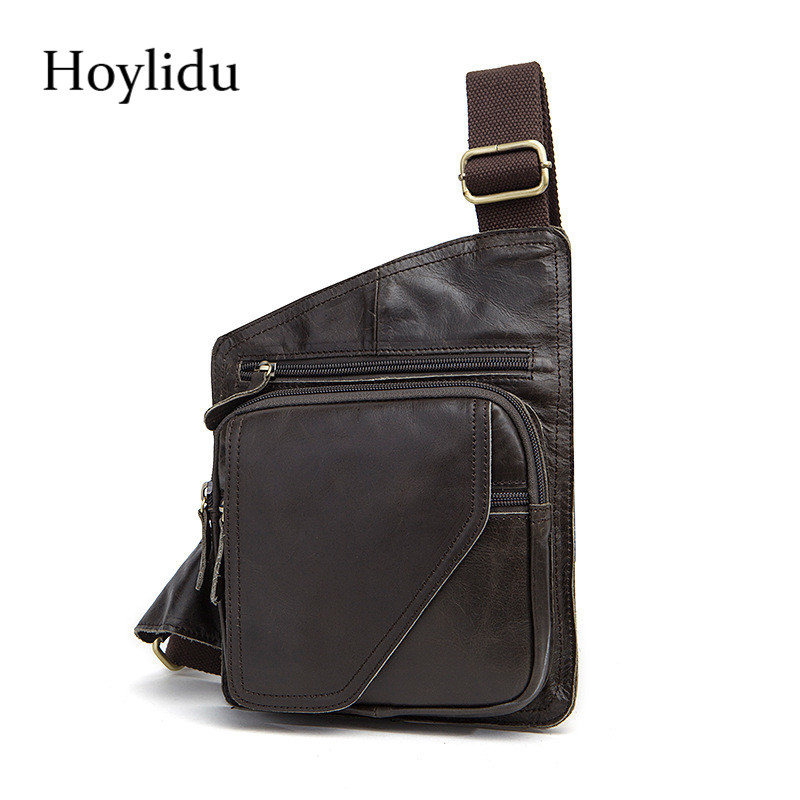 Hoylidu Cow Genuine Leather Men Chest Bag Creative Vintage Zipper Brown Wearproof Design Travel Crossbody Male Messenger Bags lignt brown stitching design crossbody bags