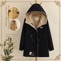 Japonés kimono bordado denim harajuku vintage étnico algodón chaqueta con capucha de lana de piel de otoño invierno de las mujeres capa de la chaqueta gruesa