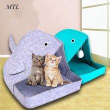 все цены на MTL Portable Felt Cloth  Pet Cat Bed Cave Sleeping Bag House Nest Basket Cute whale Shape онлайн